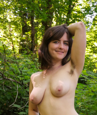Raven Snow Shows Off Hairy Pussy In The Forest